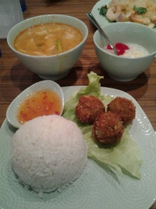 Red Tom Yum Fish Soop with Green Curry Balls