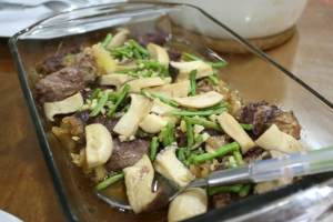 Beef Slices Rolled with Oyster Mushrooms and other Veggies